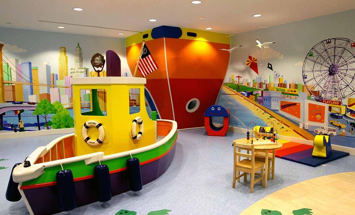 Оригинальное оформление детской игровой комнаты