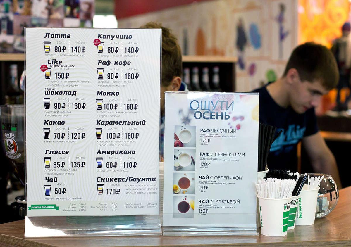 Меню и цены кофейни