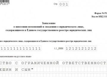 Образец заполнения формы Р14001 при смене юридического адреса